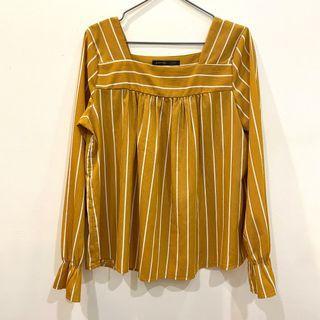 薑黃 方領條紋上衣
