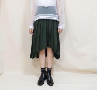 墨綠 不規則 西裝百褶裙
