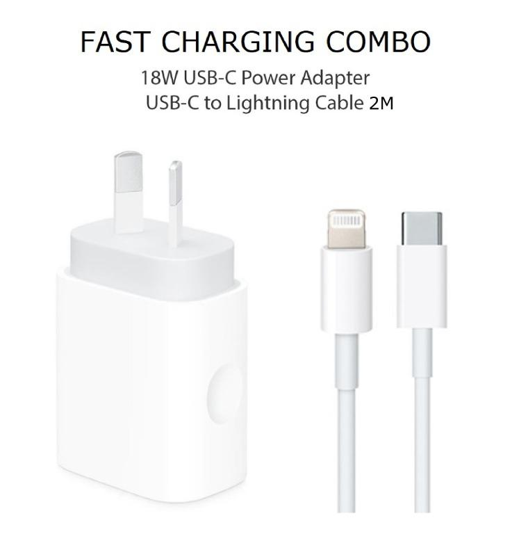 Apple Original 18W USB-C Power Adapter with 2M USB-C to Lightning Cable