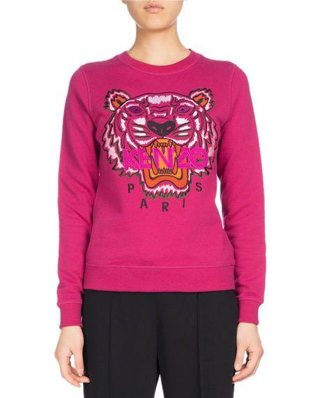 Size M Authentic Kenzo Magenta Tiger Sweatshirt