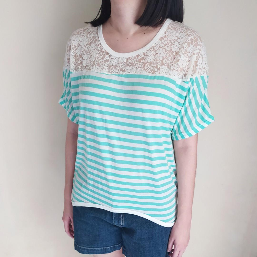 Blouse Wanita Chic Simple Brukat Stripe