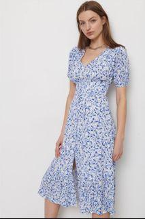 Blue floral button down rayon midi dress