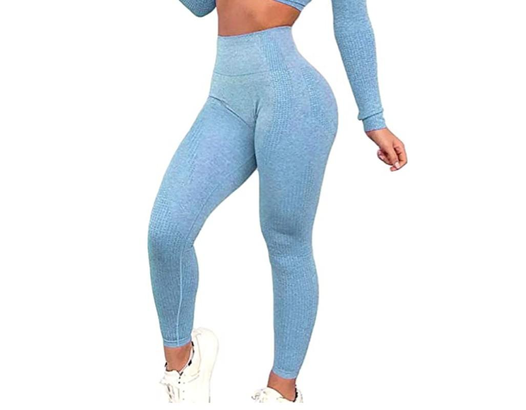 Brand new high waisted blue legging exercise yoga workout