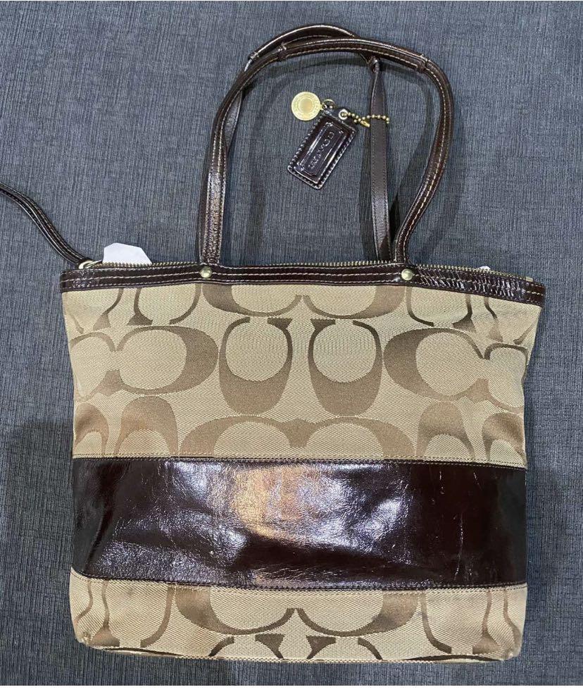 Coach monogram signature stripe medium size handbag