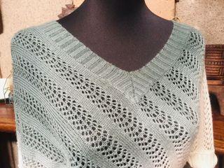 Crochet Knit Assymetrical Boho V Neck Blue&White Cover Up