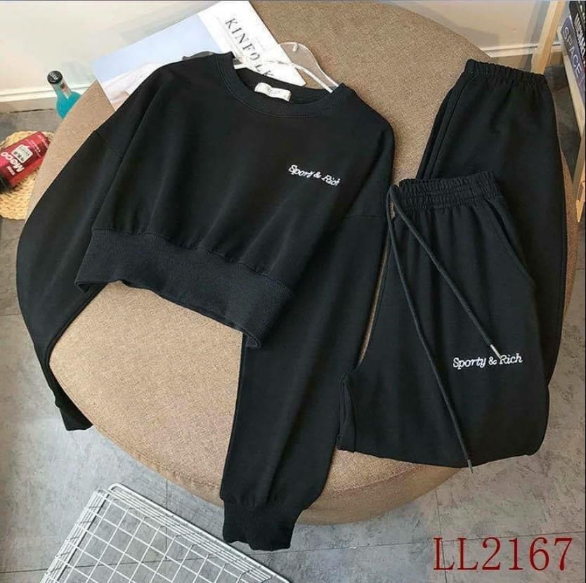 croptop jacket with jogger pants
