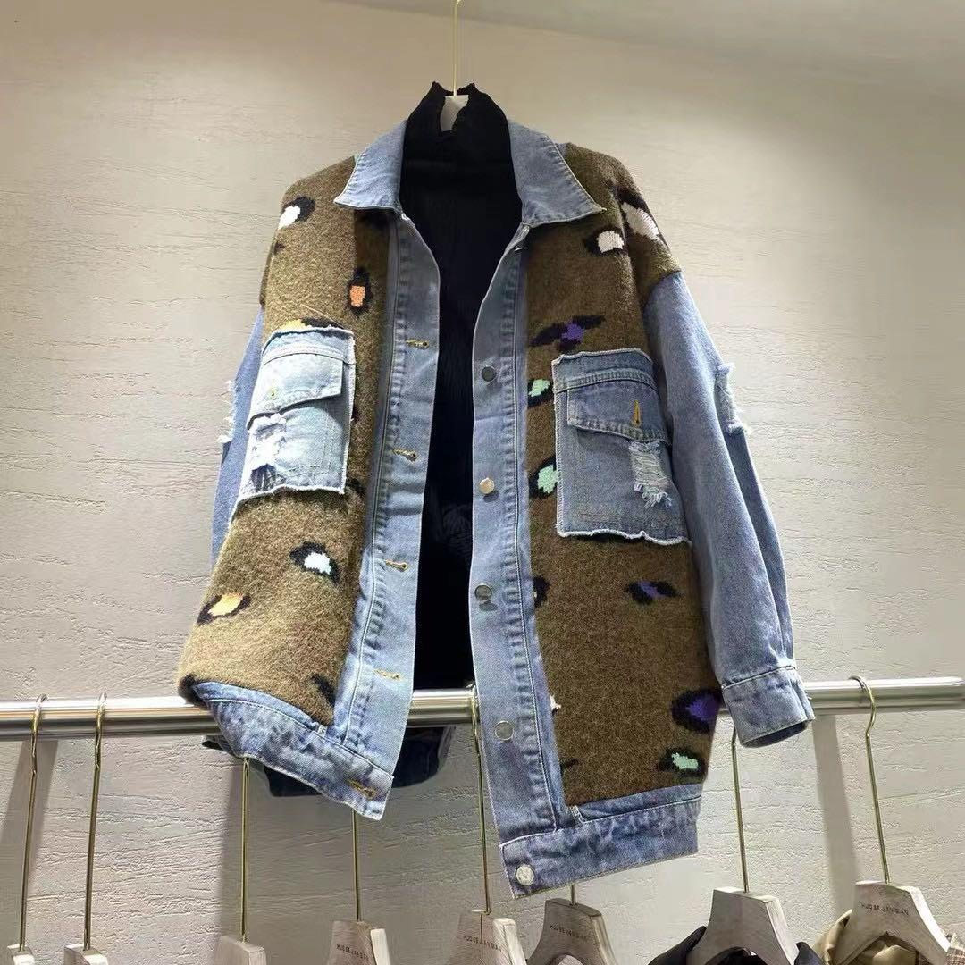 Denim cheetah print jacket