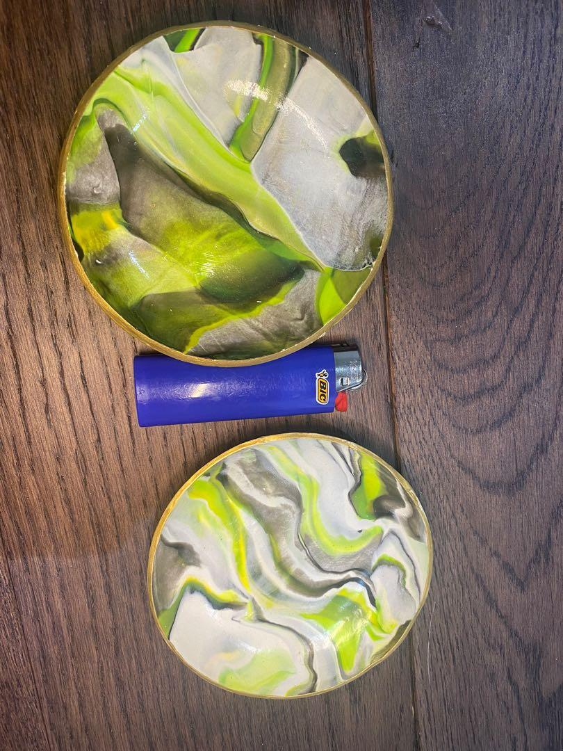 Green marble print polymer clay ring dish set of 2