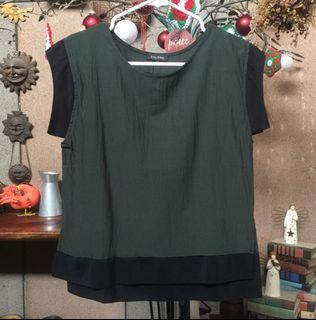 Black and Dark Grey Office Business Casual Block Design Blouse