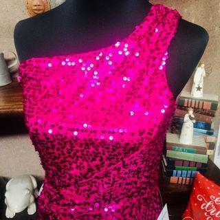 Hot Pink Full Sequins Waist Knot Assymetrical Dress