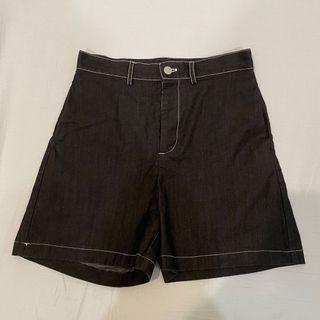 Meier Q 車線牛仔 五分短褲 炭黑
