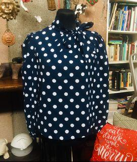 Polka Dots Long Sleeve Blouse with Neck Bow Zoom Top