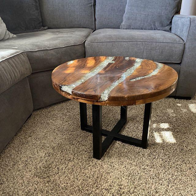 River Coffee Table Small Vintage Furniture Rustic Solid Teak Mango Wood Side End Round Crushed Glass Resin Industrial Retro Style Large Legs