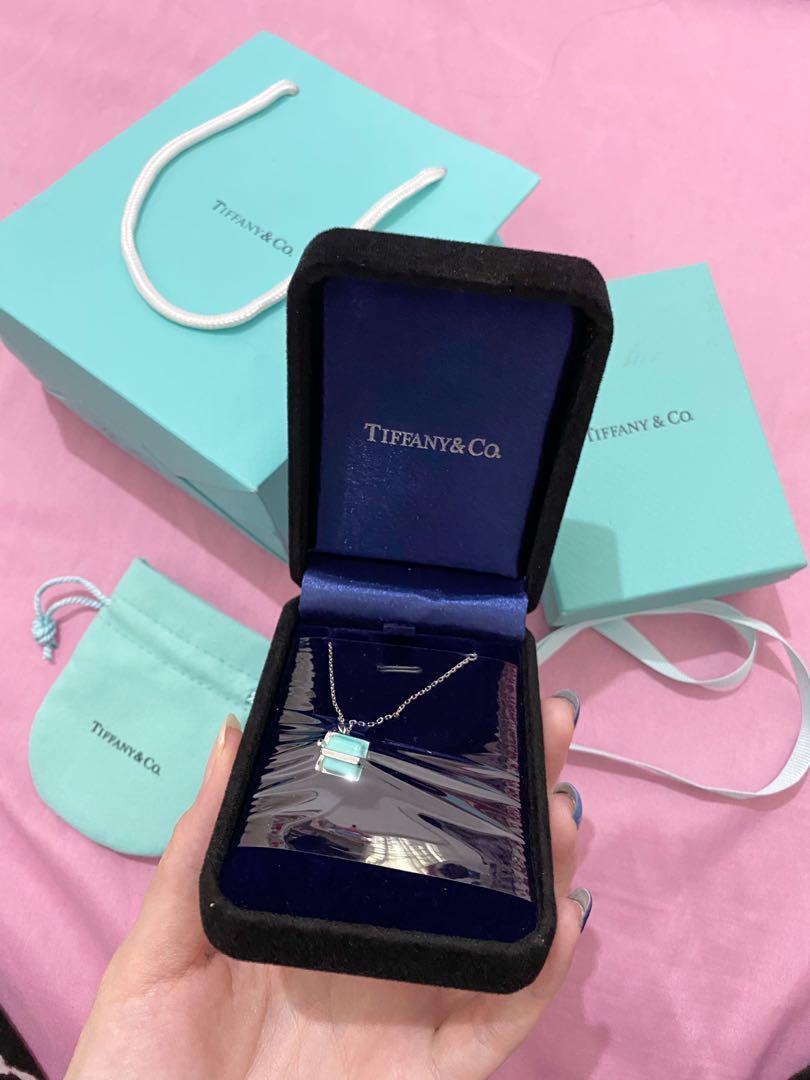 Tiffany & co box necklace silver pendant
