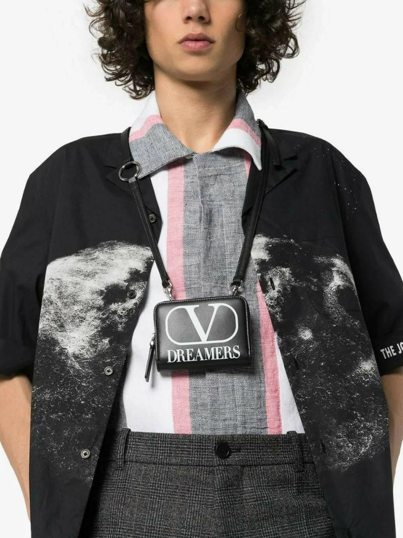 VLogo Dreamers Wallet in Black/White with Neck Strap Size: 12x2x9 Box, dustbag, copy rec