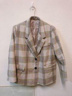 🌼賣場兩件免運 韓貨格紋西裝外套 含羊毛成分