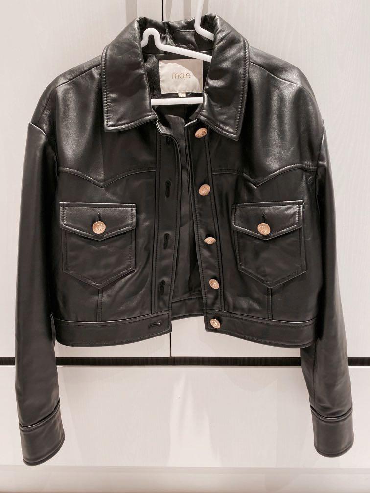 Maje金釦短版皮衣