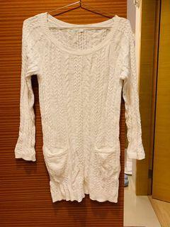 無印良品muji 長版毛衣 白色 L號