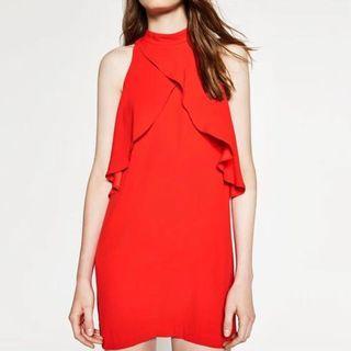 ZARA紅色洋裝 削肩