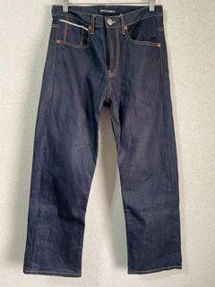 韓國深藍縫線設計修身牛仔褲