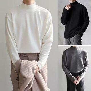 【 Gshop.】冬秋裝上衣半高領打底衫男純棉長袖t恤衫內搭韓版