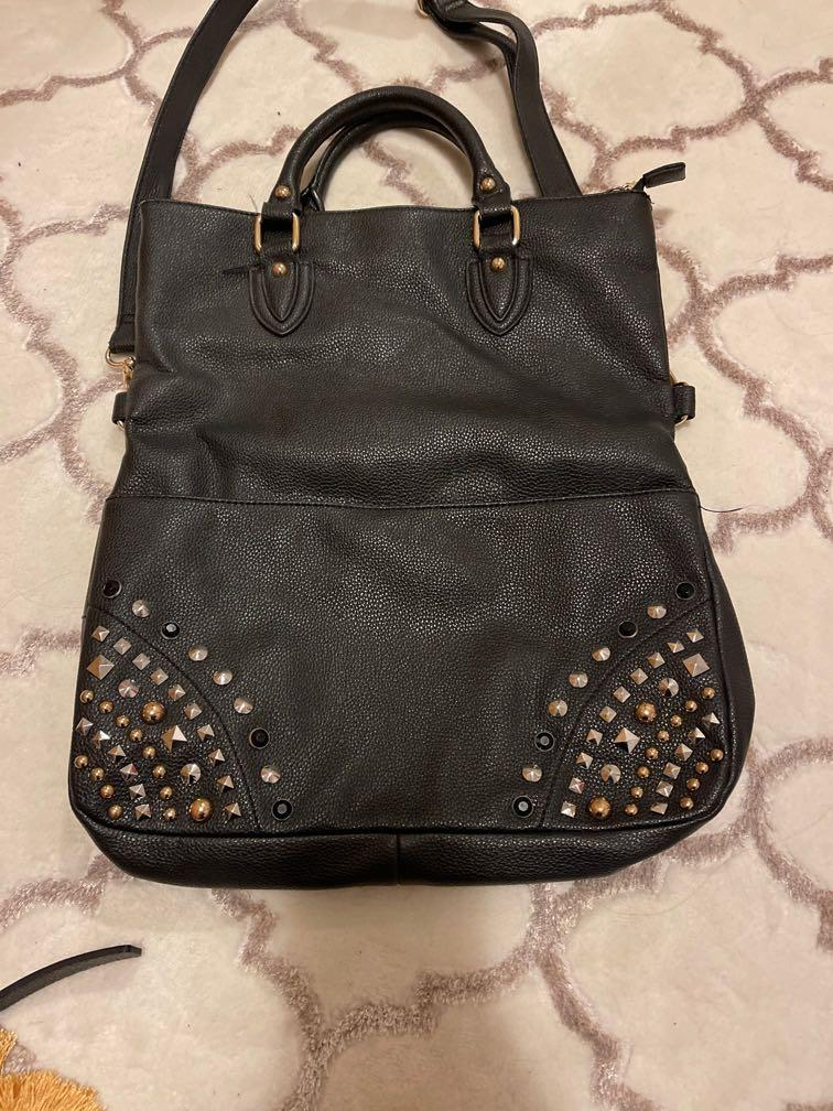 Beautiful black pleather bag with studs