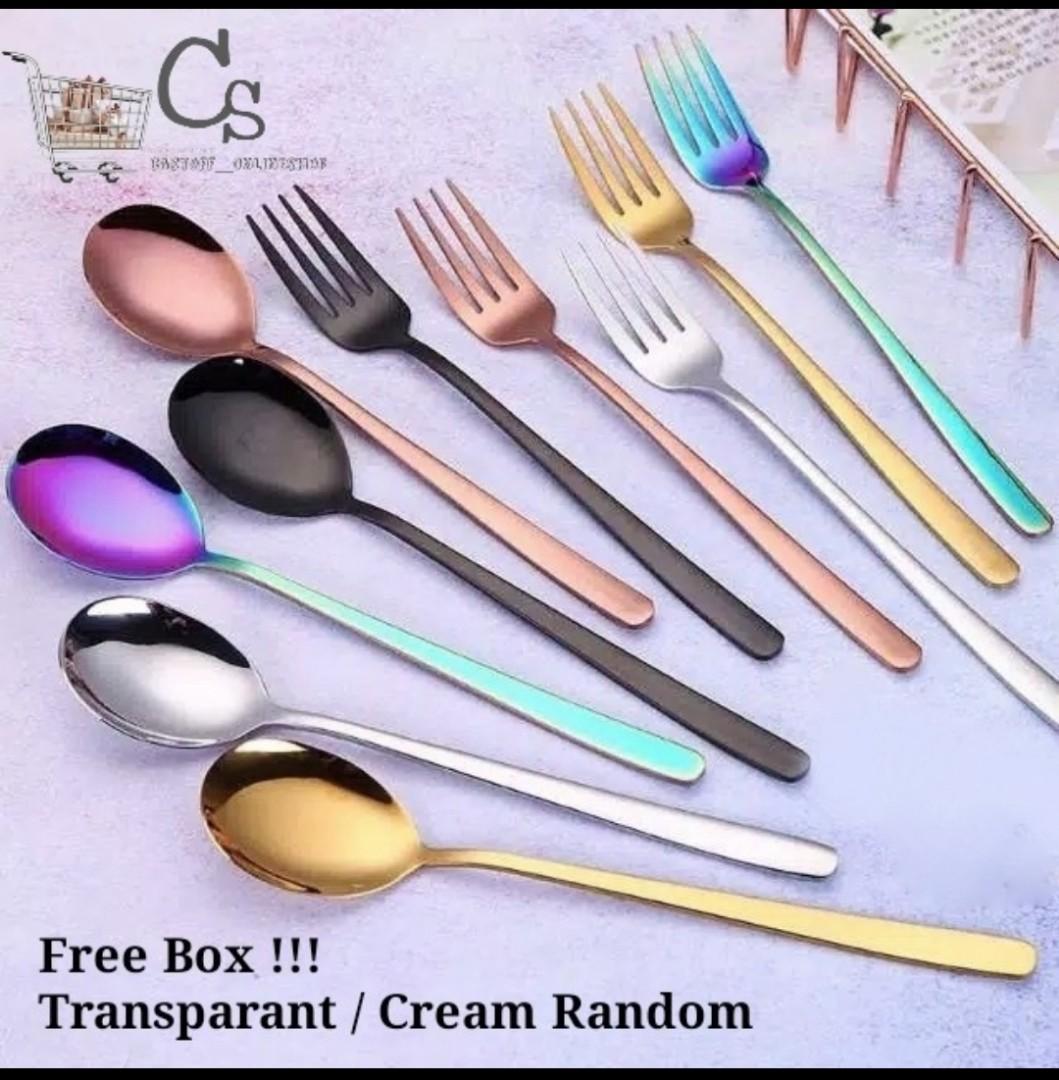 Free Box 1 Set Sendok Garpu Korea - 5 Colors