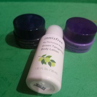 Innsifree paket hemat super volcanic mask, jeju orchid cream, green tangerine body lotion