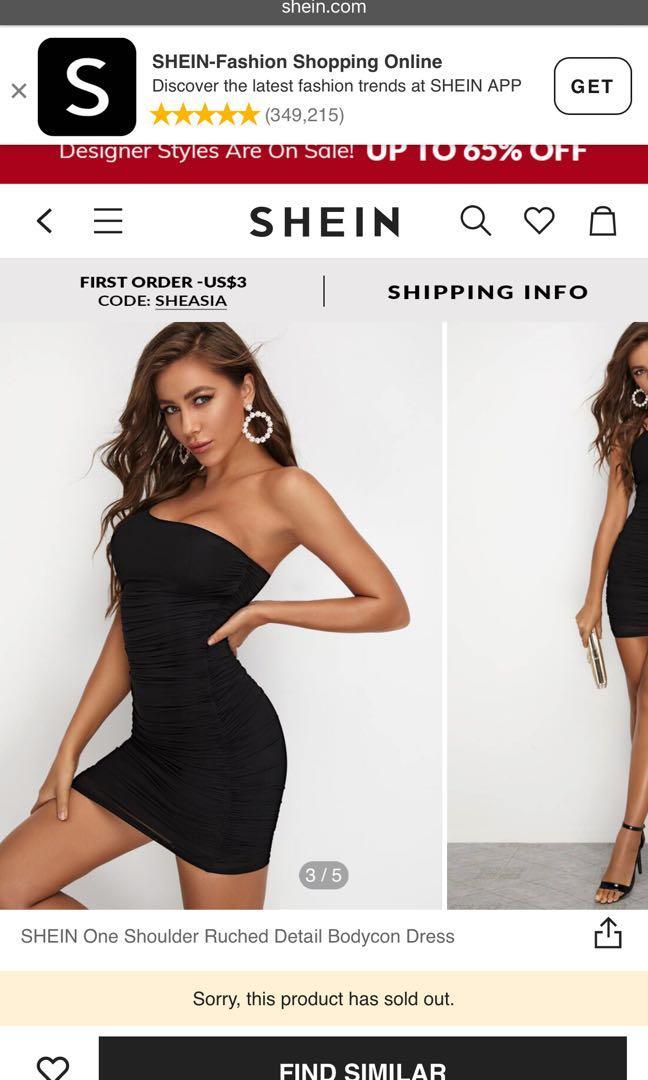 SHEIN one shoulder ruched dress