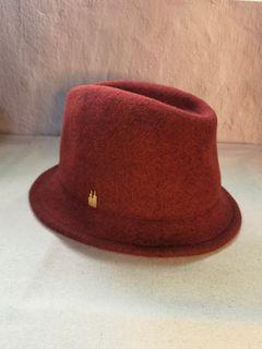 日貨UNTITLED限量磚紅色 100%毛料紳士帽