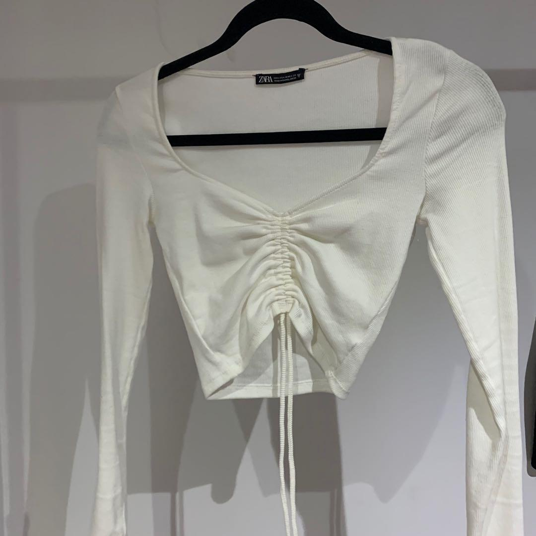 Zara white ribbed ruched crop top