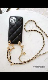 黑金银斜挎链条手机壳挂绳iphone12Pro