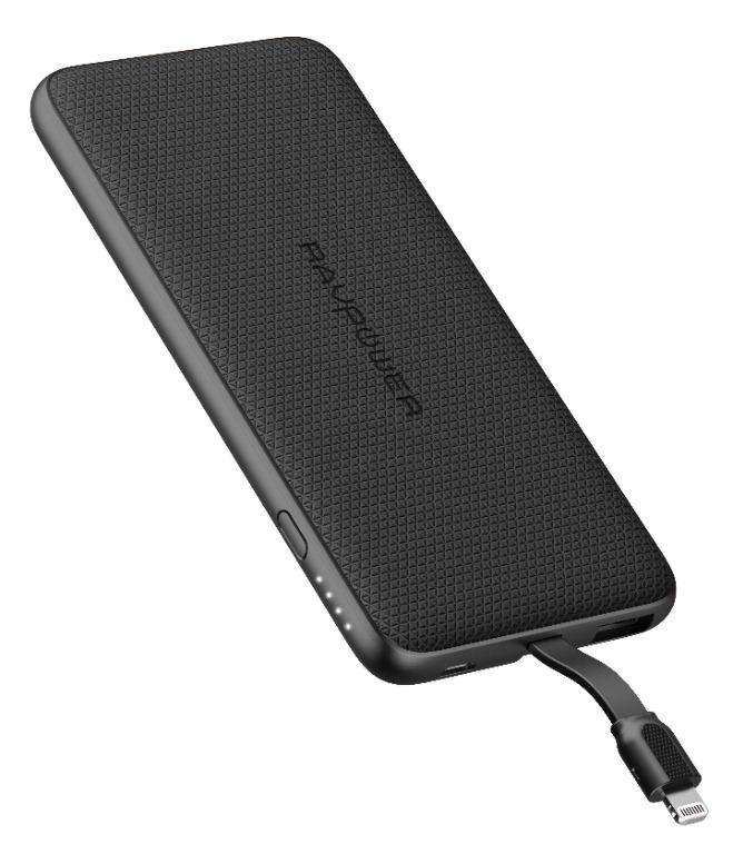 5000mAh Super Slim Power Bank With Built-in Apple Lightning Cable MFI by RavPower RP-PB098