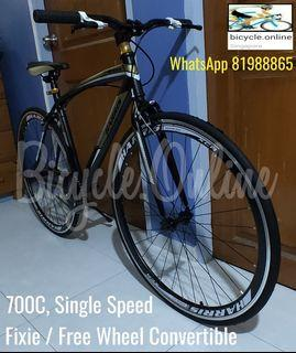 700C Convertible Road Bike (Fixie / Free Wheel) * Dual Brakes, flip flop hub, side stand ☆ Brand New Bicycle