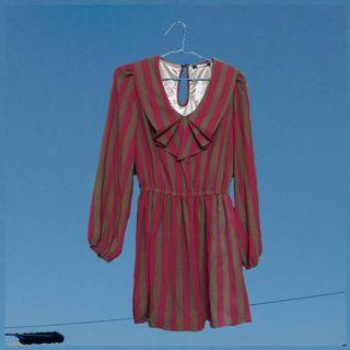 《春&秋。古着風》氣質約會吉時復古條紋洋裝款。