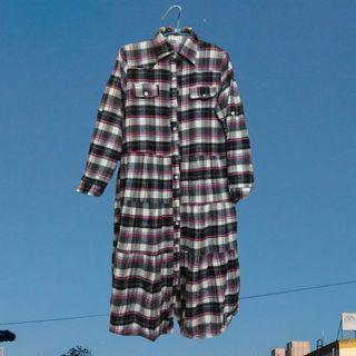 《秋冬。古着》搭配連帽外套就很美膩超長襯衫裙款