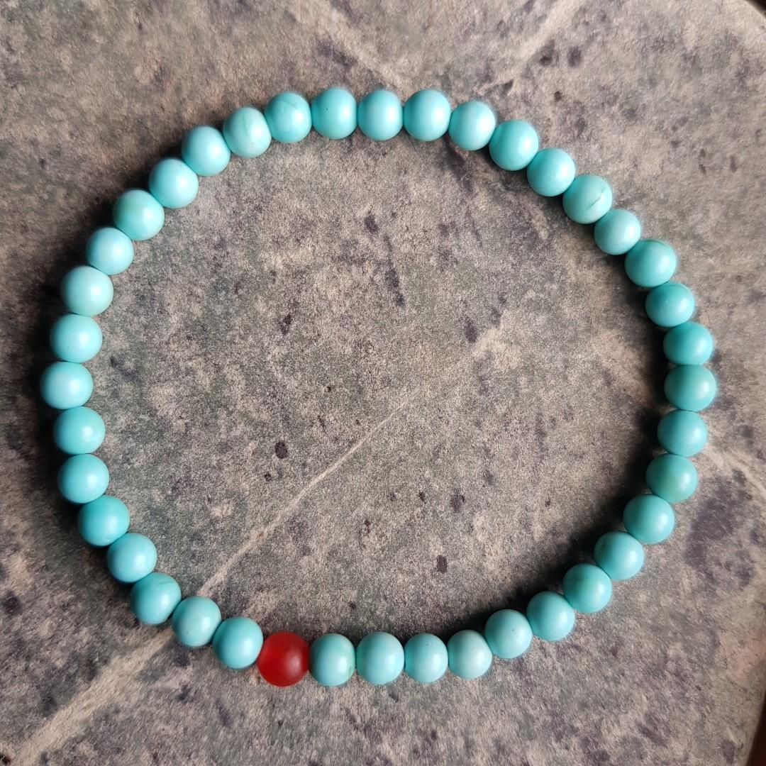 天然湖北原礦綠松+南紅小米珠單圈手串
