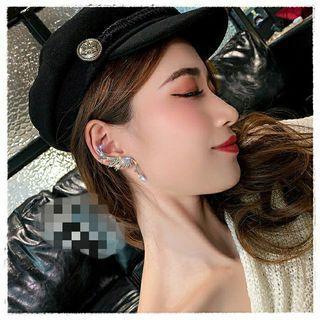 韓國東大門 新款時尚氣質鑲鑽天使翅膀水晶吊墜耳骨夾 925銀針耳環