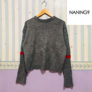 Branded! NANING9 Korean Sweater Grey / Rajut Lidi