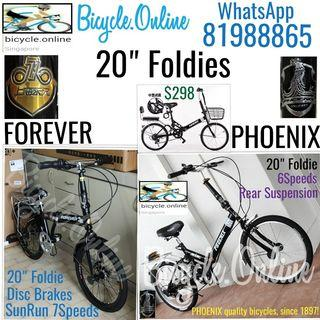 """Foldable / Foldie / Folding Bikes ✩ 20"""", 6/7Speeds, Suspension ✩ compact, fits nicely into car boots! ✩ allowed on public transport ✩ Brand New Bicycles (FOREVER $229 / PHOENIX $249)"""