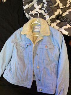 Fuzzy denim jacket
