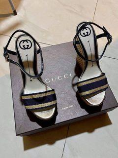 Gucci (Auth) Gold & Navy Nautical Wedge Heels