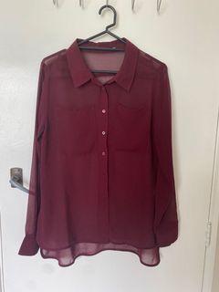 Maroon chiffon shirt