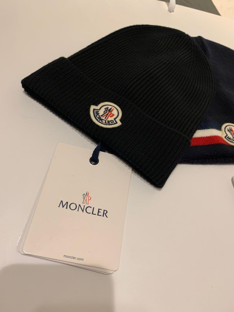 MONCLER BEANIE HAT BRAND NEW ALL BLACK SUPER SOFT CASMERE