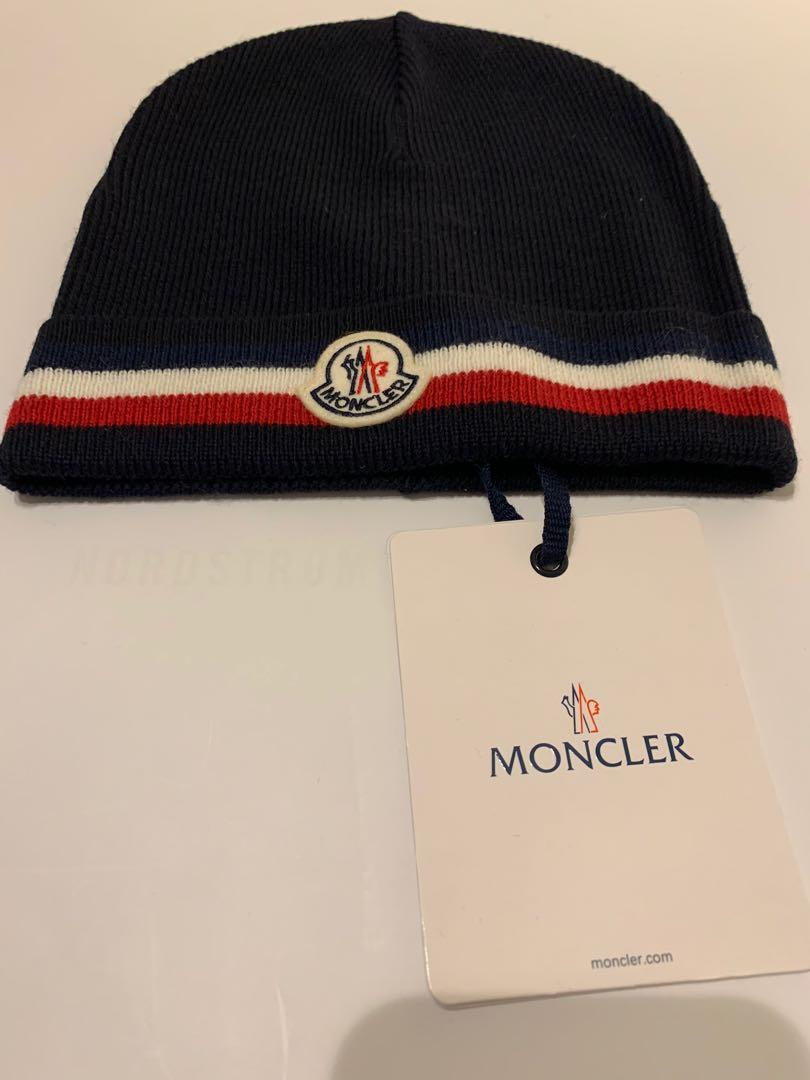 MONCLER HAT IN NAVY Signature Monclair red and white stripe.