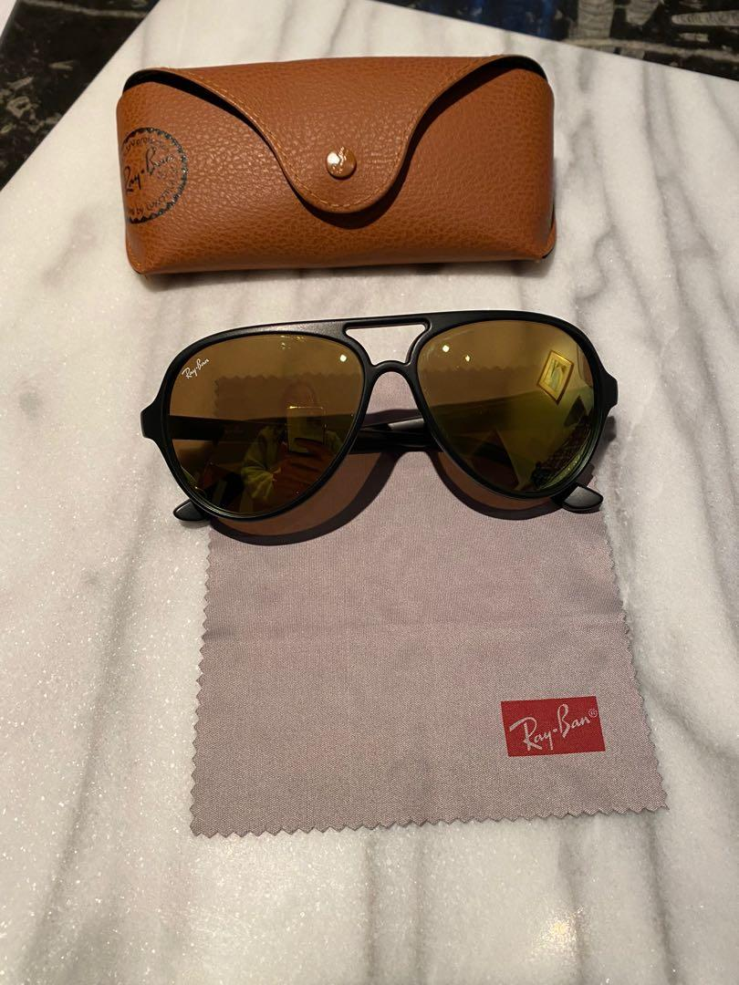 Ray bans - yellow mirrored lens and black plastic frames