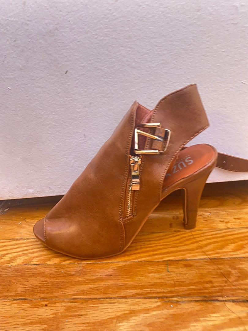 Strappy brown bootie