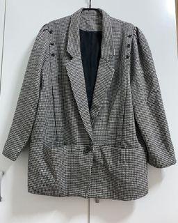 專櫃千鳥格毛料設計感外套
