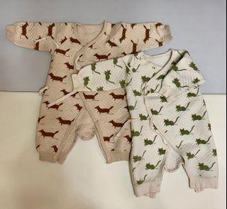 南極人 嬰兒 蝴蝶衣 鋪棉 連身衣 2件 66cm 0-6m
