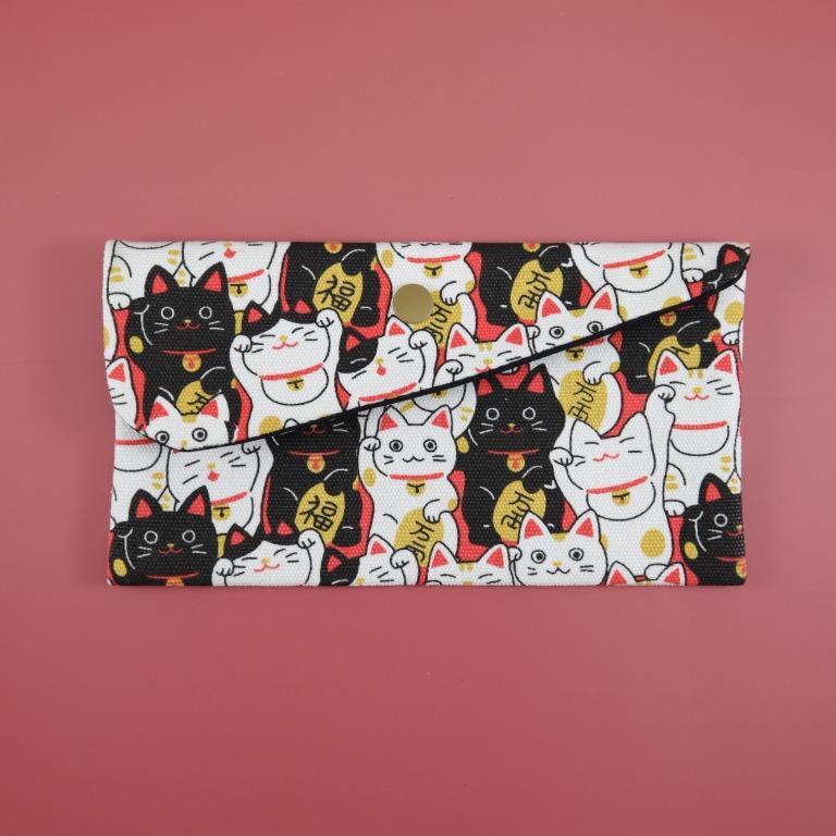 新年快樂 招財喵喵 招財貓 布紅包袋 存摺袋 口罩袋